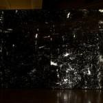 """Tomemos um objeto da natureza, por exemplo: uma lâmpada"", 2014, wax and grafitti on acrylic, lightbox. Object from a scene in the play ""Cais de Ovelhas"" from the Theatre Company. 2,5 x 8m"
