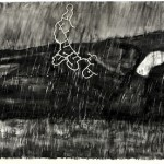 """""""Desenho para Outdoor (Antônio Conselheiro)"""", 2014, wax, charcoal and collage on notebook paper, 3m x 1m"""