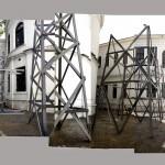 """""""É preciso confrontar as imagens vagas com gestos claros (para Reynaldo)"""", 2012, Installation, 5 parts. Average height: 5m"""