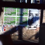'Apócrifo', ongoing work since 2001, urban intervention, Porto Alegre, Brazil. Wheatpaste poster inserted on a siding (informal publicity characteristic in urban centres), variable dimensions. Photo by Patricia Schreiner