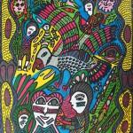 'Huni Meka', 2014, chalk and pen on A3 paper