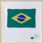 'National flag #2', 2016, cotton, polyester and inkjet printing on cotton paper, 90 x 90 x 4 cm, unique edition, photo Filipe Berndt