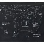 'Brazil: invasion, ethnocide and cultural appropriation', 2016, drawing made with white Pemba (chalk used in rituals of Umbanda) and dermatographic pencil on black cotton, 119 x 156 cm, unique edition, photo Filipe Berndt