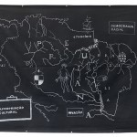 'Meridionalis Americae: invasion, ethnocide and cultural appropriation', 2016, drawing made with white Pemba (chalk used in rituals of Umbanda) and dermatographic pencil on black cotton, 116 x 155 cm, unique edition, photo Filipe Berndt
