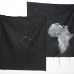 'Exodus', 2015, dermatographic pencil and white Pemba (chalk used in rituals of Umbanda) on black cotton, 76 x 70 cm, unique edition