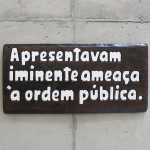 'They presented an imminent threat to public order', 2015, notch on wood (cedrinho) of phrases of institutional racism found in official communications and police reports from the Brazilian Military Police, 29 x 61 x 3 cm, unique edition