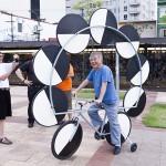 'Optical bike', 2015,  1 x 3 x 3 m, mixed technique, Largo da Batata, São Paulo, Brazil. Photo Edson Kumasaka