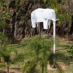 'Ulysses, The Wacky Windsock Elephant', 2014, 3 x 1 x 8m, mixed technique, Pedreira do Chapadão Park, Campinas, Brazil. Photo Edson Kumasaka