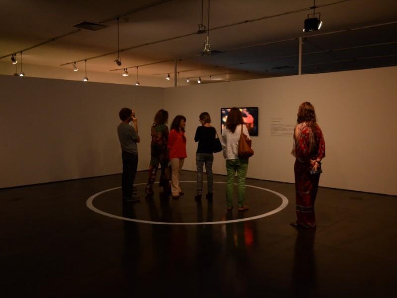 "Visitors observing Clara Ianni's installation ""Circle"""